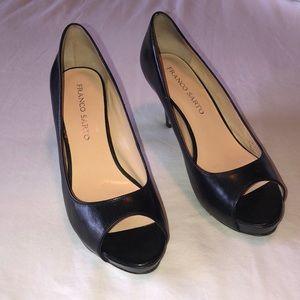 Franco Sarto Yelena Blk Leather Peep-Toe Heels